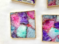 Multicoloured Composite Agate - Set of 4 Large Square Coasters | Personalised Momentos