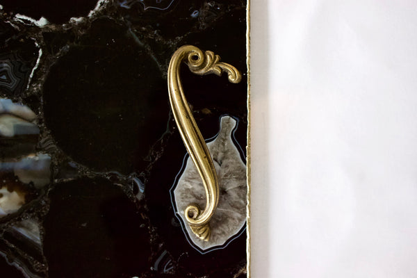 Black Agate Serving Tray With Brass Handles Style 2 | Square