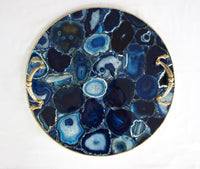 Blue Agate Serving Tray With Brass Handles | Circular Style 4