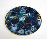 Blue Agate Serving Tray With Brass Handles | Circular Style 2