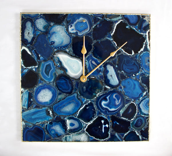 Blue Agate Wall Clock | Square