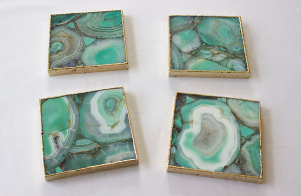 Green Agate - Set of 4 Large Square Coasters | Personalised Momentos