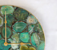 Light Green Agate Wall Clock | Circular