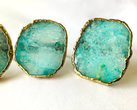 Set of 4 Hand Rounded Aqua Agate Napkin Rings