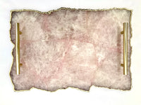 "Large Rose Quartz Agate Serving Tray With Brass Handles/Personalised Momentos/Sign Boards 10""x15"""
