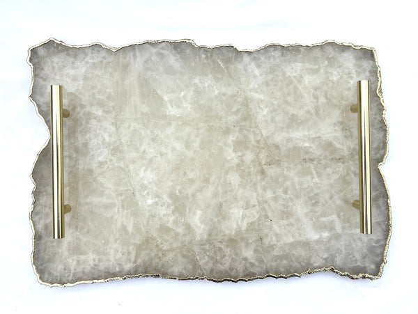 "Large White Agate Serving Tray With Brass Handles/Personalised Momentos/Sign Boards 10""x15"""