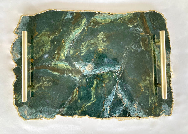 "Large Green Agate Serving Tray With Brass Handles/Personalised Momentos/Sign Boards 10""x15"""