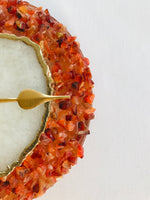 "6"" Diameter Red Crystal With White Agate Wall Clock"