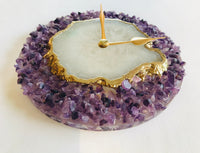 "6"" Diameter Purple Crystal With White Agate Wall Clock"