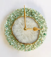 "6"" Diameter Light Green Crystal With White Agate Wall Clock"