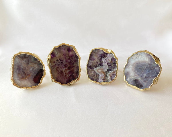 Set of 4 Hand Rounded Amethyst Agate Napkin Rings