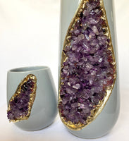 Grey and Gold Ceramic Vase/Planter/Pot/Wine Goblet/Mug with Purple Amethyst Semi-precious Agate Crystal Gemstones