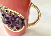 Pink and Gold Ceramic Coffee/Tea Mug with Purple Semi-precious Agate Crystal Gemstones