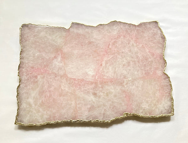 "Large Rose Quartz Agate Cheese Platter/Tray/Personalised Momentos/Sign Boards 10""x15"""