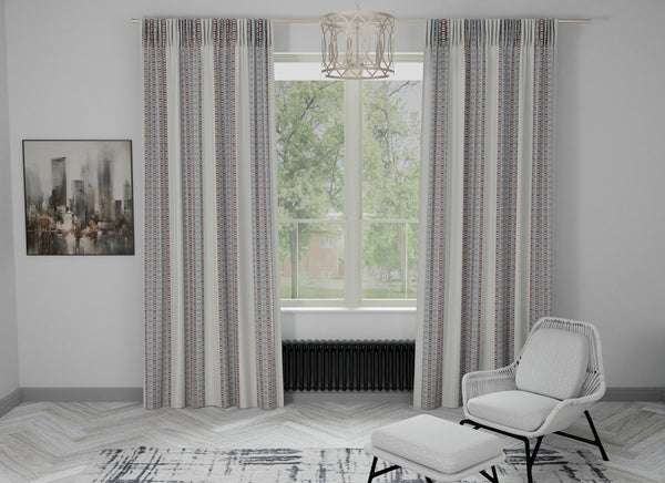 Minilines Full Embroidered Custom Curtain | Stripes | Custom Made Sizes | Custom Made Headers | Lined | Single Panel