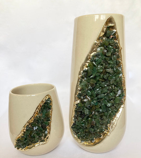 Cream and Gold Ceramic Vase/Planter/Pot/Wine Goblet/Mug with Green Semi-precious Agate Crystal Gemstones