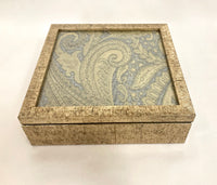 Embroidered Beige Fabric (Silk/Cotton/Linen) Handmade Jewellery | Trinket | Gift Box with Glass Top and Simulated Wooden Frame
