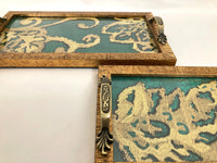 Embroidered Jade Green Fabric (Silk/Cotton/Linen) Handmade Serving Tray Set with Glass Top, Simulated Wooden Frame, Brass Handles, Set of 2