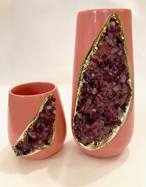 Pink and Gold Ceramic Vase/Planter/Pot/Wine Goblet/Mug with Purple Amethyst Semi-precious Agate Crystal Gemstones