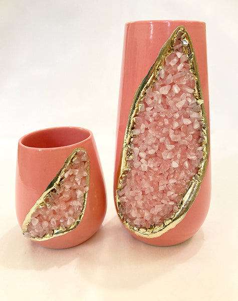 Pink and Gold Ceramic Vase/Planter/Pot/Wine Goblet/Mug with Rose Quartz Semi-precious Agate Crystal Gemstones