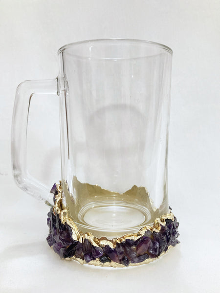 Set of 4 - Crystal Glass Beer/Coffee/Tea/Juice Mugs with Gold Plated Agate/Quartz Semi-precious Crystals | 17 oz/500 ml