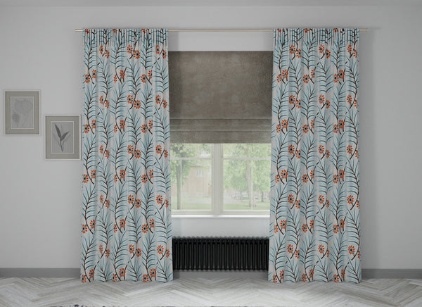 Lush Full Embroidered Custom Curtain | Stripes | Custom Made Sizes | Custom Made Headers | Lined | 2 Panels
