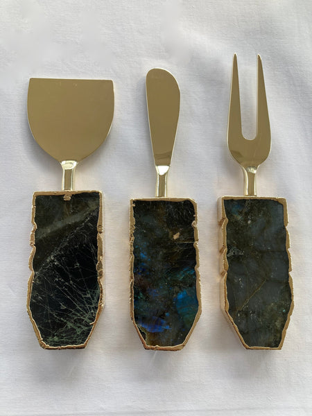 Set of 3 Labradorite Gemstone Agate Cheese Knives/Spreaders