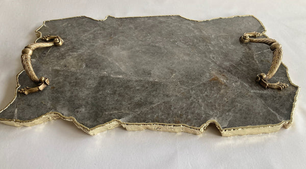"Large Smoky Grey Agate Serving Tray With Brass Handles/Personalised Momentos/Sign Boards 10""x15"" Style 2"