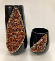 Black and Gold Ceramic Vase/Planter/Pot/Wine Goblet/Mug with Red Semi-precious Agate Crystal Gemstones