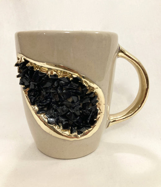 Cream and Gold Ceramic Coffee/Tea Mug with Black Semi-precious Agate Crystal Gemstones | 8 oz