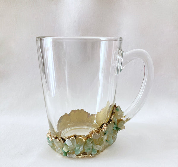 Set of 4 - Crystal Glass Coffee/Tea/Juice Mugs with Gold Plated Agate/Quartz Semi-precious Crystals | 10 oz/300 ml