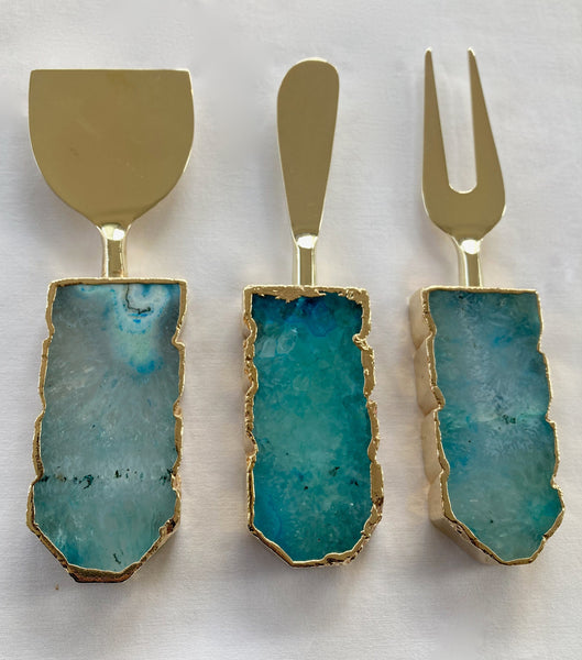 Set of 3 Aqua Agate Cheese Knives/Spreaders
