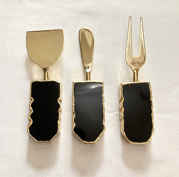 Set of 3 Black Agate Cheese Knives/Spreaders