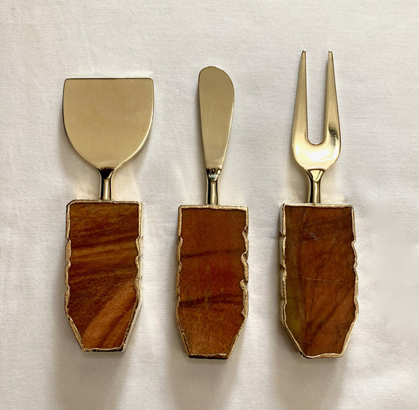 Set of 3 Rust Brown Cheese Knives/Spreaders