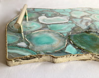 "Large Green Agate Serving Tray With Plain Modern Brass Handles/Personalised Momentos/Sign Boards 10""x15"""