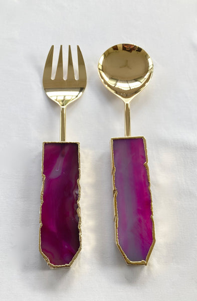 Pink Agate Salad Server - Set of 2