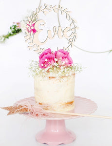 WREATH NAME CAKE TOPPER