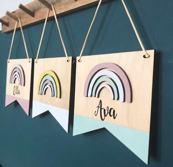 PERSONALISED POINT UP RAINBOW PLAQUE