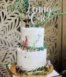 ITALIC NAME AND AGE CAKE TOPPER