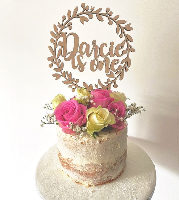 WREATH NAME AND AGE CAKE TOPPER