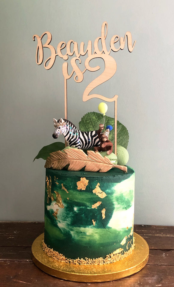 NAME AND NUMBER CAKE TOPPER