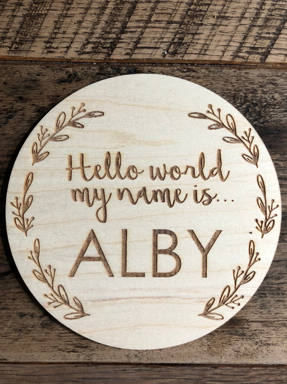 BABY NAME ANNOUNCEMENT PLAQUE
