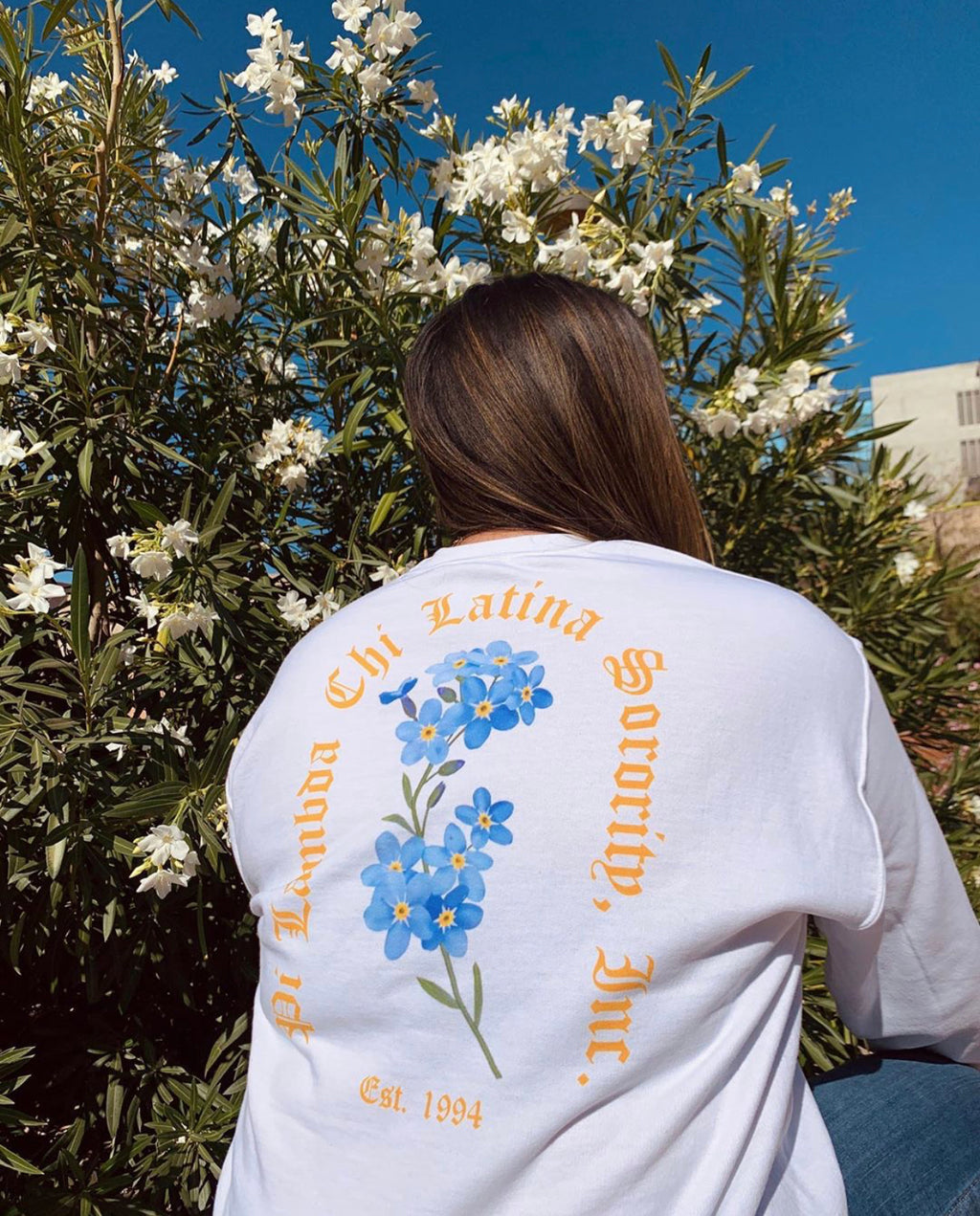 Golden Chi Forget-Me-Not Floral Crewneck