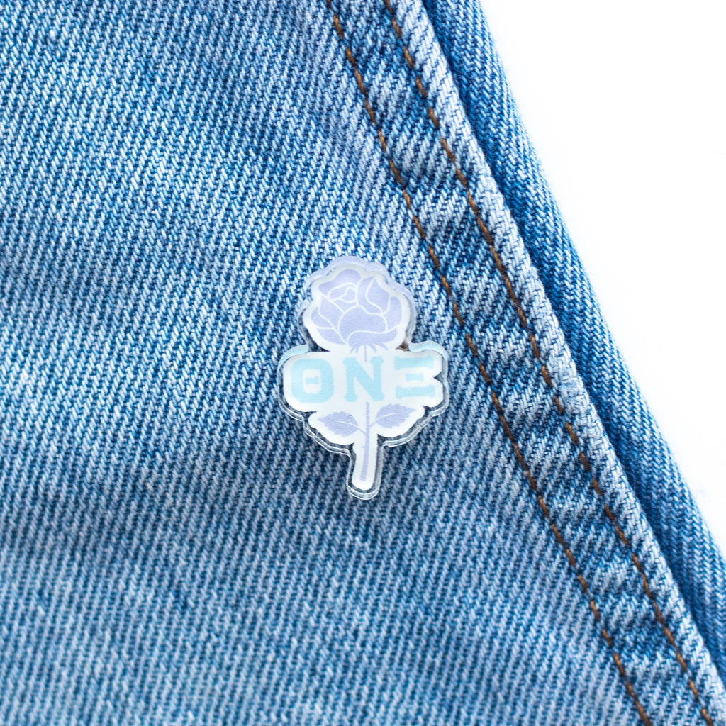 TNX Sterling Rose Acrylic Pin