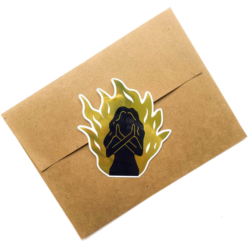 Fire Woman Gold Mirror Sticker