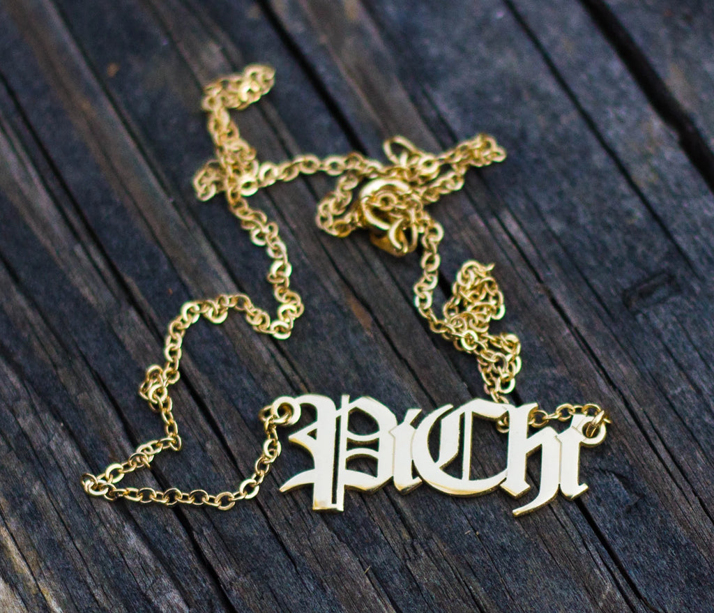 Pi Chi Gold-Plated Nameplate Necklace