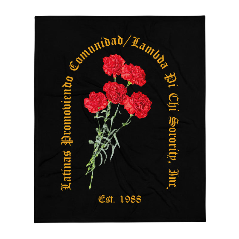LPC Black Floral Plush Blanket