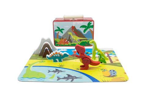 Wooden Dinosaur Playset in Tin