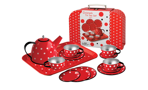 Red polka dot tin teaset in case