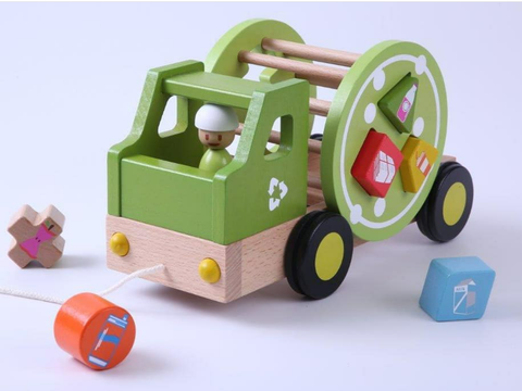 Eco Wood Pull Along Recycling Truck - Everearth